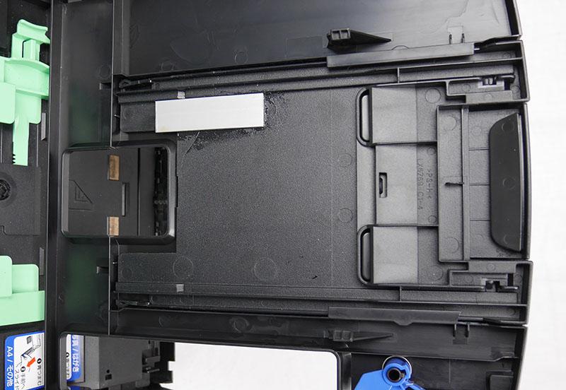 修理した記録紙ストッパーをセット(裏面)