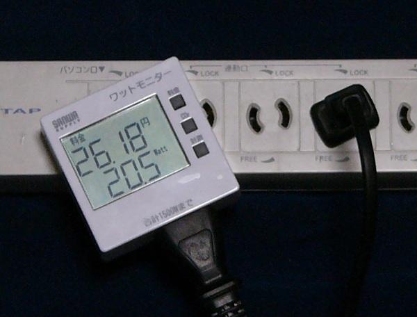 測定中のワットモニター