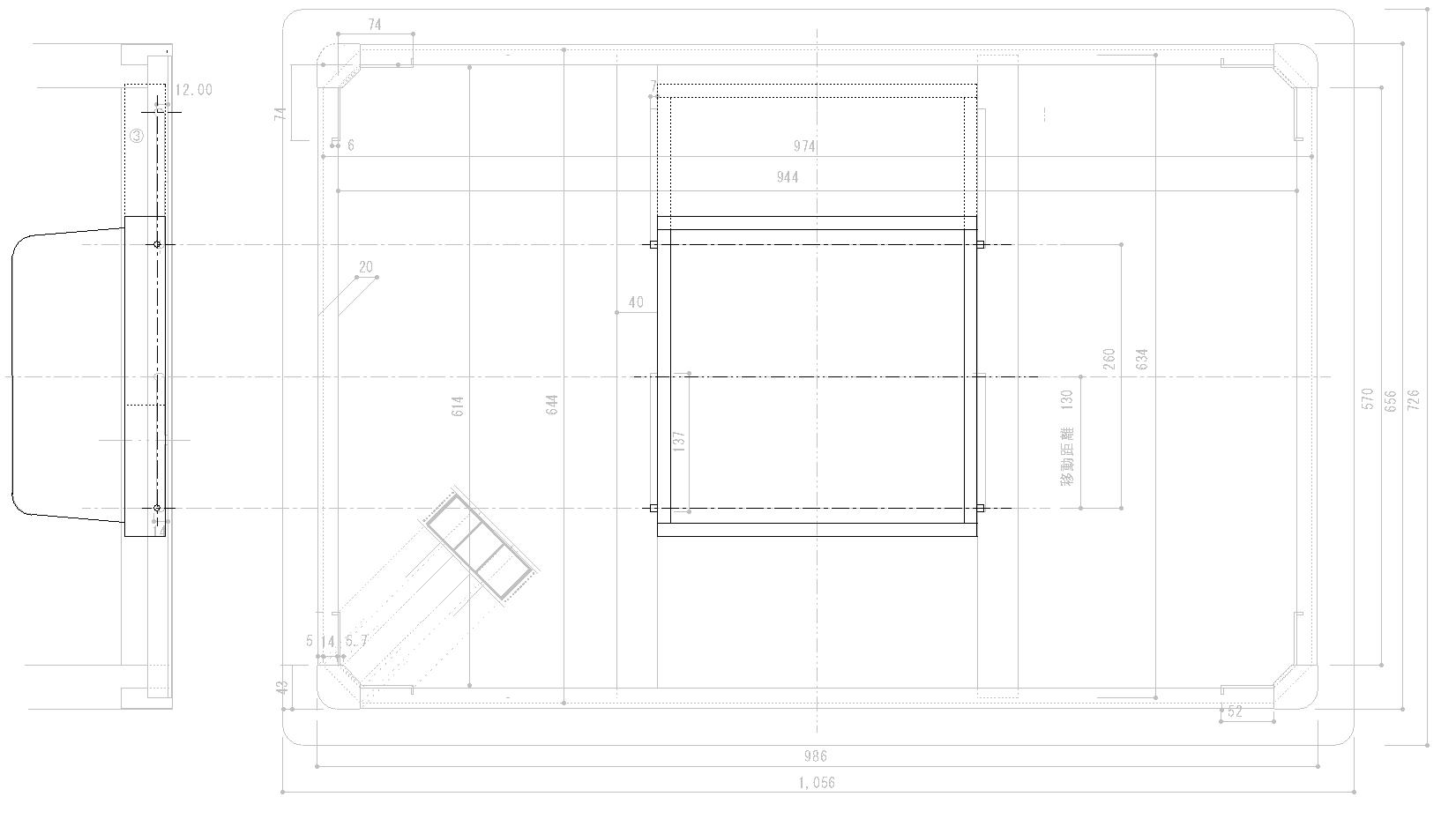 変更後のこたつ設計図(平面・側面)