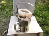 ロケットストーブ実験_コーヒーをいれる
