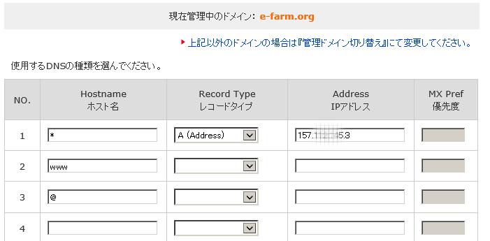 DNSレコードの設定部分2